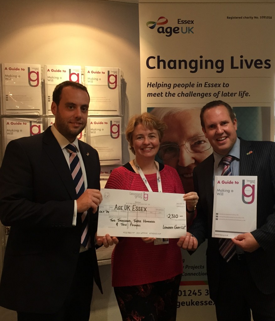 (L-R) Chris Kelly (Partner of Leonard Gray and Trustee of Age UK Essex), Jean Robinson (Fundraising Manager for Age UK Essex) and Clive Burrell (Partner of Leonard Gray)